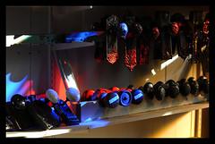 Door Knobs (thepoocher7) Tags: indoor blue red filteredlight windowlight stainedglasswindowlight doorknobs antique antiquedoorknobs shelves oldthings ceramicdoorknobs brassdoorknobs olddoorknobs