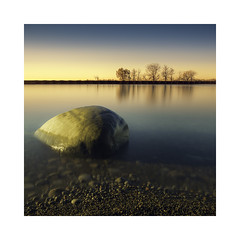 New wave rock show! (Todd Murrison (Whitby61)) Tags: minimal canada longexposure ndfilter november2016 ontario whitby beach experiment morning toddmurrison whitbyontario goldenhour breakwater autumn reflection canon6d luminositymasks 60seconds canon1635 squarecrop bwnd110 textures trees shrubs metal newwaverock offset whiteborder ngc