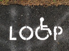 Mobility Loop (Melinda Stuart) Tags: transport campus disabled sign mobility loop graphic design wheelchair assistance map dry grass blacktop stenciled word access university berkeley