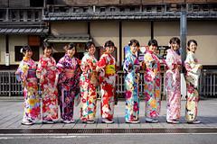 Gion has kimono girls! (Eric Flexyourhead) Tags: gion 祇園 higashiyama higashiyamaku 東山区 kyoto 京都市 kansai 関西地方 japan 日本 street city urban candid girl girls woman women japanese cute kawaii かわいい smile smiling happy kimono 着物 colourful vibrant vivid sonyalphaa7 zeisssonnartfe55mmf18za zeiss 55mmf18