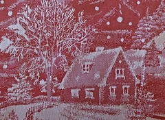 New Christmas Tablecloth!  339/366 (Good Morning Everyone :)) Tags: 366the2016edition textures tablecloth christmas puce red white designs embroidered country winter snow buildings trees path fence 3662016 day339366 4dec16