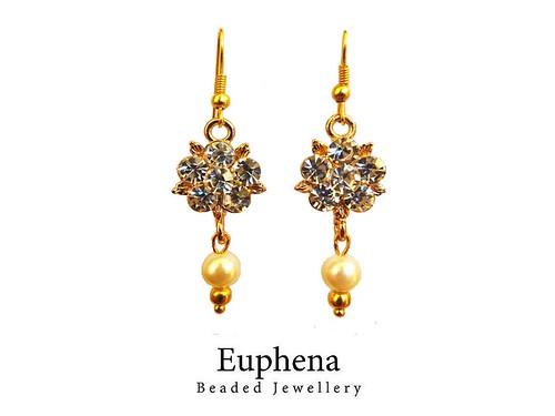 Dimante Flower Pendant and Faux Pearl Drop Earrings
