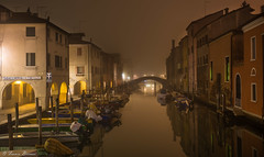Fog & Boats (Franco Beccari) Tags: chioggia fog boats canal reflections nikon vacation color colour holiday trip travel tourism red yellow green blue black white world europe city photography nikkor d600 nikond600 veneto italy night mist