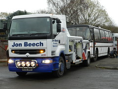 Another 'quick' job. (Renown) Tags: bus coach aec reliance 505 ah505 6mu4r plaxton panorama elite xye101g rbw reliancebusworks stokeontrent jonbeechrecovery renault wrecker recovery towing breakdown lorry truck ke55bnx