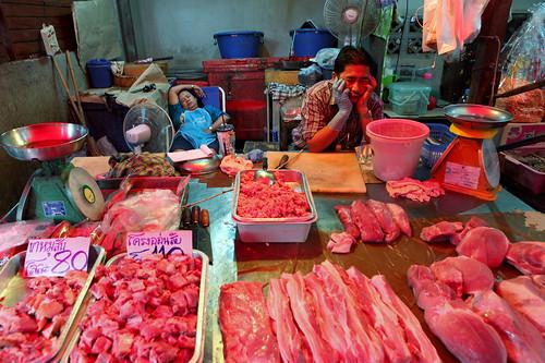 street food retail train thailand outdoors workers asia raw market sale bangkok railway stall meat business trading thai trade economy province marketstall baht vendors railroadtrack talad samutsongkhram maeklong taladromhoop