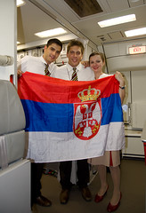 Emirates crew from Serbia (Osdu) Tags: people man girl airplane inflight cabin uniform flag aircraft serbia aeroplane emirates crew airbus hostess aviao stewardess flugzeug avin aereo avion a340 flightattendant vliegtuig flygplan emiratesairlines   stewardes aeroplano lentokone samolot uak flugvl   luftfahrzeug lennuk  htessedelair a6erp  emiratescrew  letoun fastvingefly aroplanum