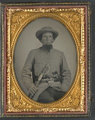 [Unidentified soldier in Confederate uniform with sword and two guns]  (LOC) (The Library of Congress) Tags: portrait man beard uniform case sword libraryofcongress 1860s oval csa xmlns:dc=httppurlorgdcelements11 dc:identifier=httphdllocgovlocpnpppmsca33319