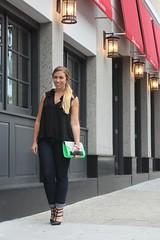 Living After Midnite: Stud Pumps & Lime Green Clutch (jackiegiardina) Tags: fashion outfit pumps 21 style jeans bracelet spike clutch forever hm stud valentino shoedazzle rockstud livingaftermidnite jackiegiardina