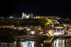 Whitby Town At Night - North Yorkshire, England. (Darren Flinders) Tags: old sea sun church abbey lights coast pier seaside sand yorkshire north illumination whitby 199steps ancientbuildings whalesjawbone