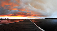 Begging To End (Andrew Kellaway) Tags: sunset panorama clouds canon newcastle fire pano jetty smoke wide australia andrew panoramic valentine nsw 7d kellaway