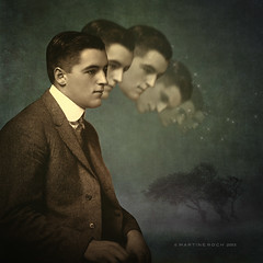 When thinking goes too far (Martine Roch) Tags: man art texture sepia photoshop square surreal retro thinking martinerochvintage flypapertexturemanray