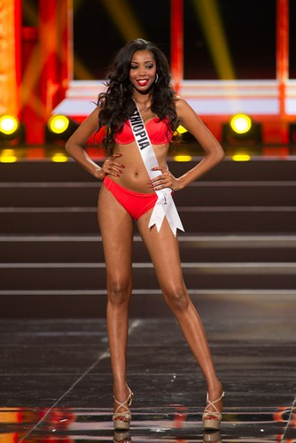 This photo provided by the Miss Universe Organization shows Mhadere Tigabe, Miss Ethiopia 2013, competes in the swimsuit competition during the Preliminary Competition at Crocus City Hall, Moscow, on November 5, 2013. Miss Universe 2013 will be crowned at