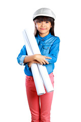 Little girl holding a poster, Isolated on white with clipping path (Patrick Foto ;)) Tags: hardhat portrait people white cute industry girl beautiful beauty smile face hat childhood female work paper studio asian fun thailand happy person design kid construction education pretty artist child play little background joy helmet dream young adorable happiness safety professional architect thai innocence worker concept job engineer isolated builder clippingpath