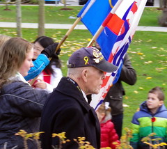 sry13k18 Old & Young at Remembrance Day (CanadaGood) Tags: canada britishcolumbia bc cloverdale remembranceday flag people person streetphoto 2013 canadagood colour color black red blue green thisdecade surrey best
