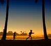 Catch me if you can (. Jianwei .) Tags: blue sunset vacation color beach silhouette yellow kids hawaii waikiki honolulu jianwei kemily nex5