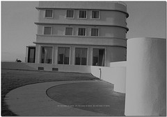 The Midland Hotel Morecambe : Agfa Agfapan 100 B&W sold as Jessops Pan100S : Nikon FE Film Camera : Tamron 59A Adapt to All 2 59A 28-70mm F3.5 - 4.5 Zoom  : (norbet1) Tags: uk england bw english film monochrome analog photoshop blackwhite nikon angle noiretblanc britain scanner north wide scan lancashire adobe predigital british analogue fe nikkor agfa tamron morecambe nikonfe lenses agfaapx100 blackwhitephotos agfaapx100bwfilm tamronad259a2870mmf3545zoom