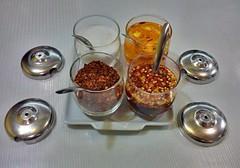 Thai Seasoning (David Darricau) Tags: red food orange table thailand asia piment bangkok spice vinegar asie vinaigre pice 2013