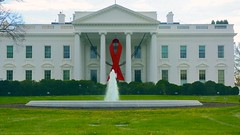 World AIDS Day - Red Ribbon on the White House Portico 33932