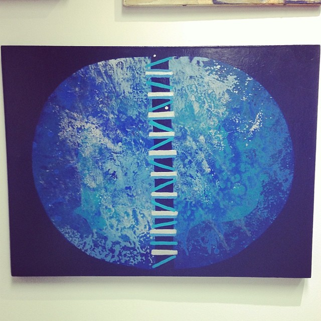 """Planeta Azul"" de Charo Noriega •  • Bazarte #bazarte #arteenlima #artinlima #arte #art #artist #artista #pintura #painting"