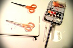 Testing new small sketch kit (Aurelie Morin) Tags: stilllife moleskine pen watercolor sketch drawing aquarelle scissors naturemorte sketchkit