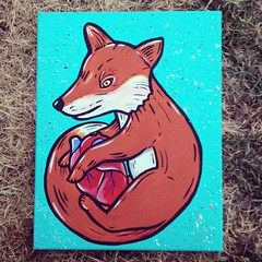 Fox acrylic painting (JessStolensoul) Tags: hello blue baby color cute love painting foxy diy colorful paint heart sweet handmade turquoise artsy fox anatomy acrylicpainting loyal heartpainting foxart foxpainting uploaded:by=flickrmobile flickriosapp:filter=nofilter