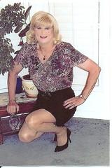 Purple Blouse/ Black Ruffled Skirt (bobbievnc) Tags: black tv highheels legs cd skirt tgirl short blonde pantyhose crossdresser nylons shemale shortskirt tanpantyhose