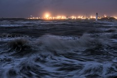 Feeling Rough (alundisleyimages@gmail.com) Tags: sea england lighthouse seascape storm nature water weather night liverpool waves nightlights wallasey crosby wirral newbrighton openspaces rivermersey nikon1755f28 seaforthcontainerterminal nikond7100 3peaker
