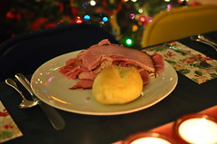 Christmas dinner (Hannah Lauber) Tags: christmas camera family food tree beautiful bells dinner 35mm lens bread fun happy photography 50mm photo amazing cool nikon shiny warm flickr candles with cheery silverware bokeh cousins napkin awesome great halls knife plate fork spoon twinkle ham christmastree holly deck stunning what roll rolls plates supper cheerful dslr boughs joyful sparkly occasion twinkling joyous famiy christmasdinner twinkles twinkly teenphotographer youngphotographer d5000 christmasbokeh foodbokeh nikond5000