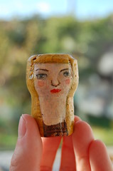 Champagne Cork Head (Julia Laing) Tags: portrait painting head handmade 2014 crfts