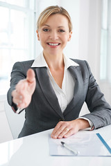 Female Businesswoman Extending Hand In Greeting (daisy_vcm) Tags: people opportunity woman smiling vertical happy person office adult employment meeting hiring professional communication business suit document trust consultant handshake contract welcome manager interview job greeting partnership forties maturewoman cv oneperson recruitment 40s cooperation resume teamwork caucasian officeworker agreement occupation businesswoman middleaged congratulating businessrelationship businesspersoncandidate