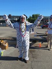 Parade pup! (horsepj) Tags: woof animal fuzzy indiana parade suit arf spots pjs doggy pup paws bloomington 4thofjuly onesie