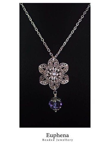 Upcycle Silver Plated Flower Pendant  and Lavender Swarovski Crystal Necklace