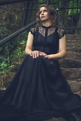 wilderness (Laynachu) Tags: black dress pagan witch earth earthy nature outside stone grunge brunette curls lace dark moody stairway