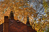 Autumn Roof Top (Emily Stoller) Tags: pentax pentaxk5 pentax100macrowr photographers photomatix indiana indianapolis indianaphotographers indianapolisphotographers midwest autumn autumncolors turret chimney mapletrees chimnies