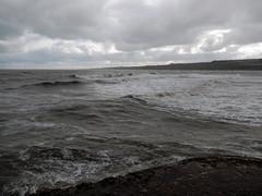 North Sea in wind, 2016 Oct 23 -- photo 1 (Dunnock_D) Tags: uk unitedkingdom britain scotland fife standrews grey cloud cloudy sky northsea sea waves pier