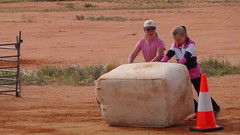 DSC06939 Wool bale race by local kids (spelio) Tags: sw qld jundah shenanigans barcoo shire outback