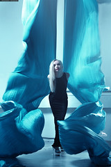-  Air cloth (By Khusen Rustamov) (xusenru) Tags: girlwithpainting dancepaintings blackdress fabric blue blonde eyes knit colorful pattern background design beautiful texture brightcolors sexy xusenru khusenrustamov artirbisproduction fashion bautiful dance