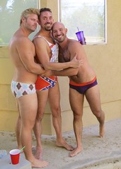 IMG_0221 (danimaniacs) Tags: party shirtless man guy hot sexy hunk bathingsuit trunks speedo bulge smile beard scruff bald hairy