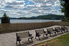 five benches facing the wrong way (BehindBlueEyes) Tags: nj newjersey sparta lakemohawk boardwalk bench