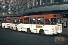 'Centreline' buses at Manchester Piccadilly, February 1981 (Museum of Transport Greater Manchester archive) Tags: museum transport cheetham manchester wwwgmtscouk gmts bus buses museumoftransport gmtscollection greatermanchestertransportsociety boylestreet cheethamhill m88uw seddon midi pennine iv236 centreline piccadilly rail railway train station victoria gmt gmpte selnec 1727 1724 xvu357m xvu354m approach