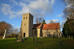 St. Mary's Church, Playfrod (DaveJC90) Tags: suffolk village playford view landscape autumn winter sun sunny sunlight light bright sky blue cloud cloudy dark shadow walk walking afternoon path footpath church building old classic stone field cow animal creature blakc brown green grass colour colours crop croped nikon d5100 digital slr camera wide angle zoom lens 1020mm 1855mm detail sharp sharpness