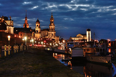 Dresden (dappsull) Tags: dresden nightshot boat church reflection sky clouds steamboat river elbe abitofsemperopera hofkirche cathedral