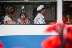 Wondering Girl (Ktoine) Tags: girl child bus granny transport flower hat look regard window composition eupatoria crimea russia candid street