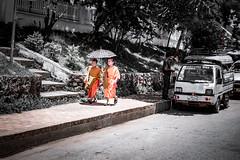 Monks in Laos (wianphoto) Tags: trees man olympusomdem5markii laos impressive wianphoto streetscene street people image houses summer 2016 sunny bike clouds monks sun asien monk child tree olympusmzuiko1240mm omdem5markii car umbrella sky olympus olympuspro1240mm omdem5mark2 asia cloudy