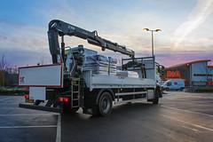 B&Q Penryn HiAB (Shockin Goblin) Tags: bq diy hiab lorry truck brs carpark penryn falmouth cornwall store mercedes crane sunrise work working tradepoint