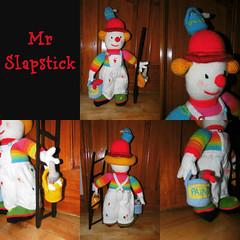 Mr Slapstick Collage (Paddy Wack) Tags: knitting vonnie clowns craft red blue painter gardener ladder handmade stripes stunning