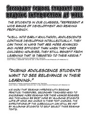 """Educational Postcard: """"Secondary School students need reading instruction as well"""" (Ken Whytock) Tags: students represent widerange development reading proficiency adulthood adolescents developing intellectually think advanced effiecient children learning targeted needs relevance"""