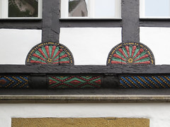IMG_5443 (jaglazier) Tags: 15thcentury 15thcenturyad 2016 91716 architecture bielefeld buildings chevrons copyright2016jamesaglazier geometricdesigns germany houses northrhinewestphalia rosettes september stonework woodenbuildings woodworking art crafts halftimbered painted reconstructed reliefs restored stripes nordrheinwestfalen