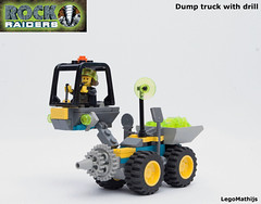 01_Dump_truck_with_drill (LegoMathijs) Tags: lego moc legomathijs rock raiders dump truck with drill radar energy crystal mining miner space scifi wheels off road planet u rised cabin turqoise stone