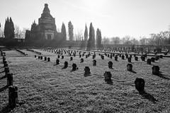 Cemetery of the Crespi d'Adda workers' village (Bergamo) (attilio.pirino) Tags: cemetery graves crespi dadda shadows backlight radiant light cimitero tombe ombre controluce luce bw bn architecture architettura